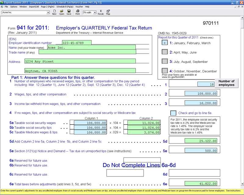941/940 - CFS Tax Software, Inc. - Software for Tax Professionals