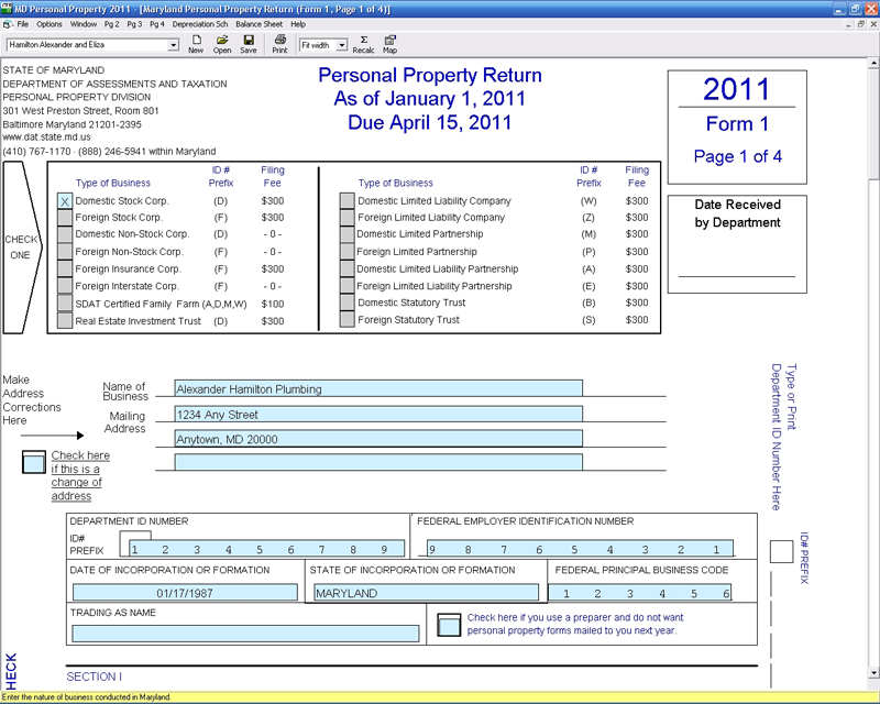Maryland Personal Property Cfs Tax Software Inc