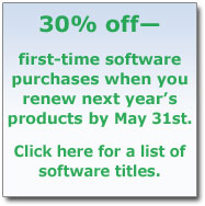 30% off first-time software purchases